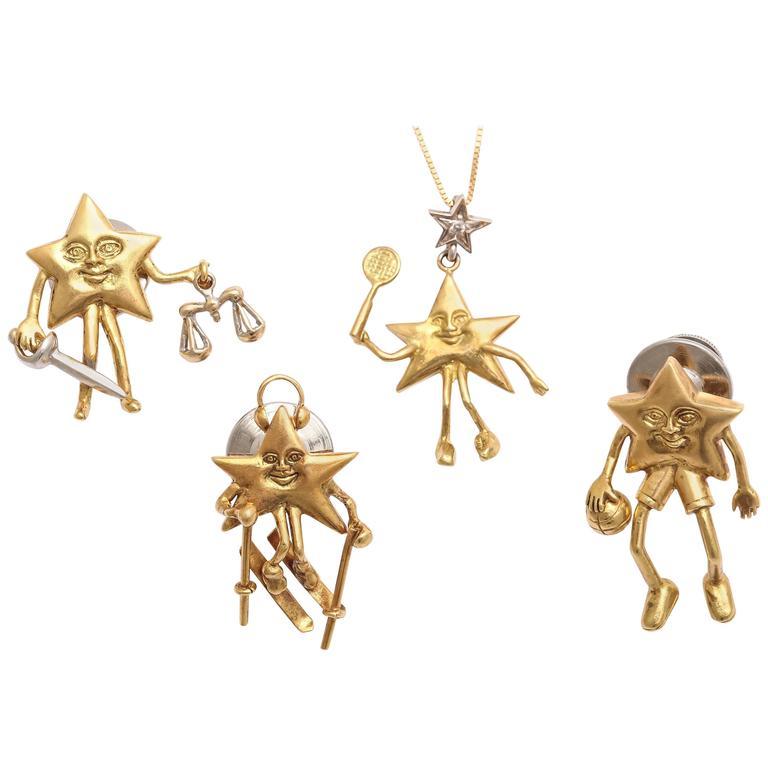 Charming Diamond Gold Celestial Tie Tacks or Pendants For Sale