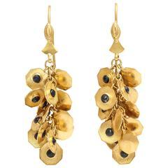 Sapphire Gold Dangle Earrings