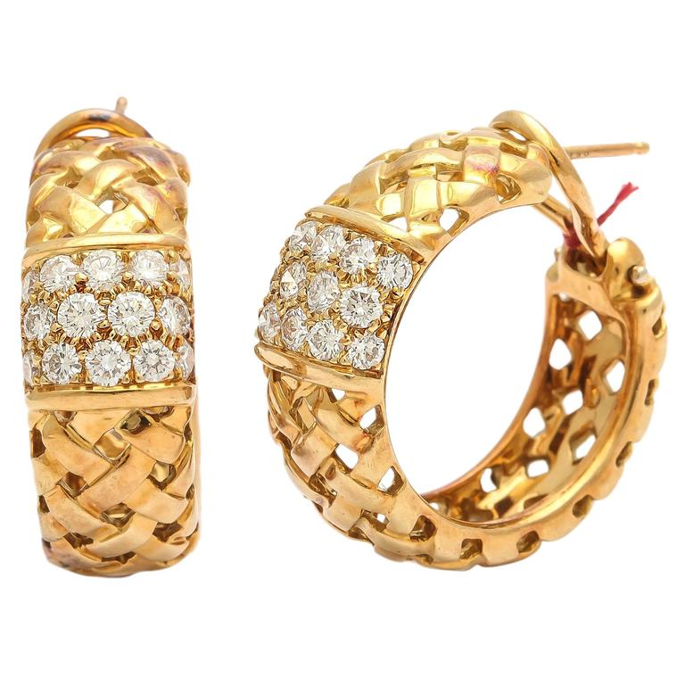 Tiffany and Co. Diamond Gold Basket Weave Design Hoop Earrings at ...
