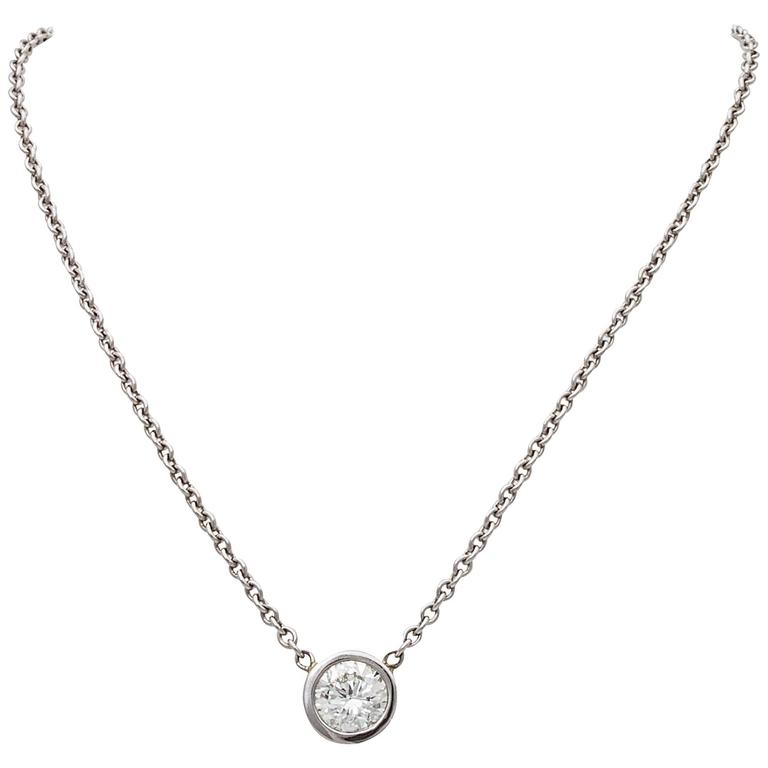 Solitaire Diamond Platinum Pendant Necklace