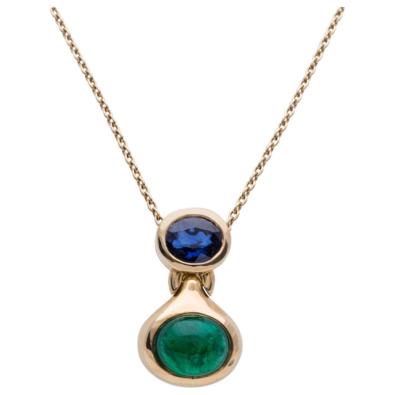 Bulgari bvlgari sapphire emerald gold pendant for sale at 1stdibs aloadofball Image collections