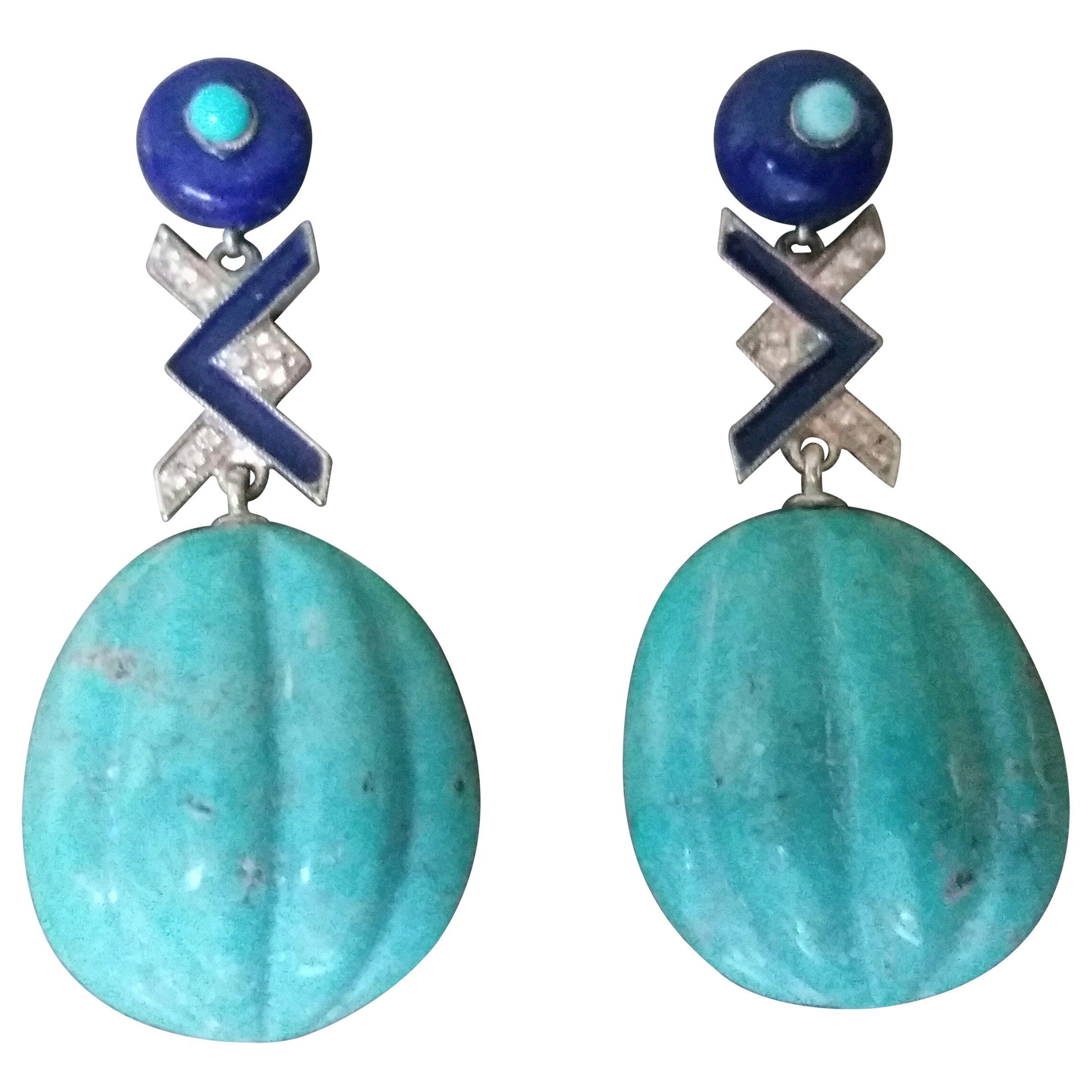 Art Deco Style Turquoise Lapis Lazuli Gold Diamonds Blue Enamel Drops Earrings