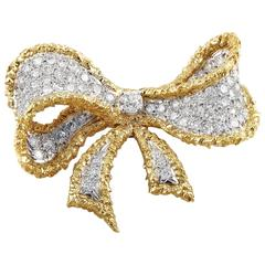Cellino Diamond Platinum Gold Bow Brooch