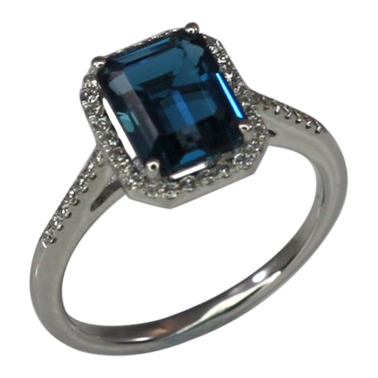 Georgios Collections 18 Karat White Gold London Blue Topaz Ring with Diamonds
