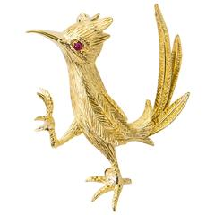 Hammerman Brothers Ruby Gold Road Runner Pin