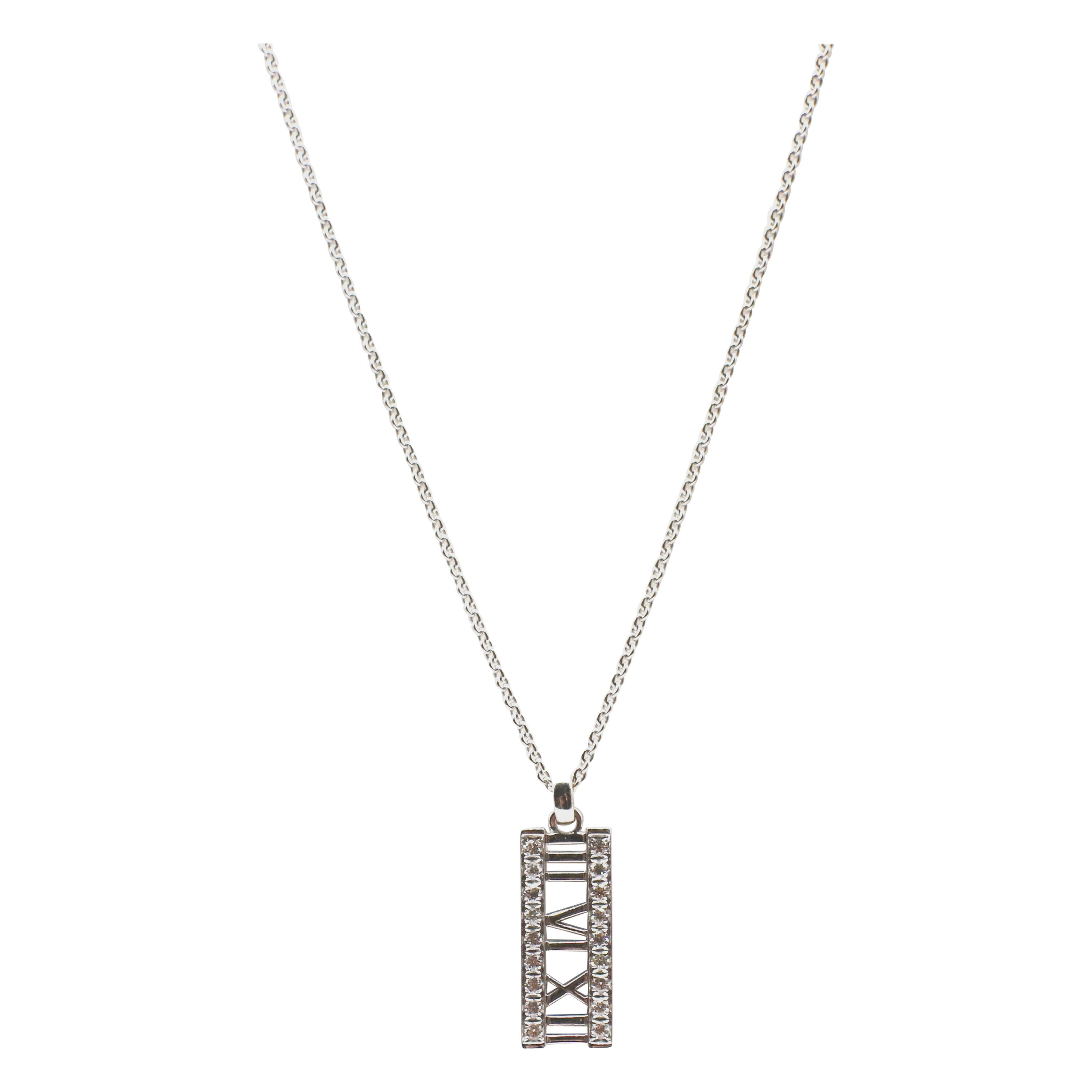 Tiffany & Co. Atlas 18 Karat White Gold Diamond Bar Pendant Necklace