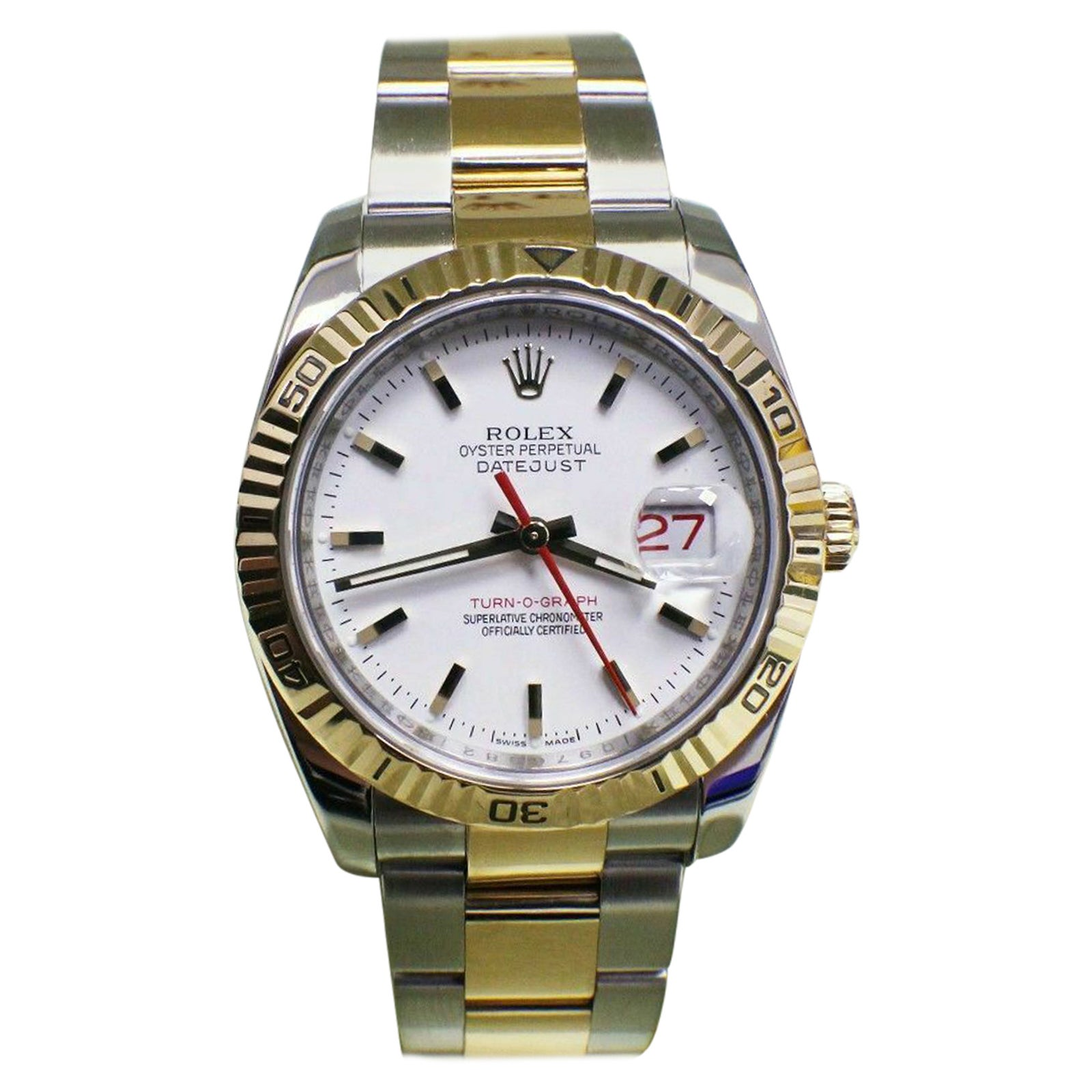 Rolex Datejust Turnograph 116263 18 Karat Yellow Gold and Steel Box Papers, 2014