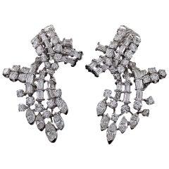 1950's Diamond and Platinum Earrings