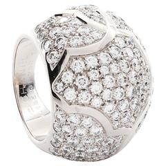 Chanel Diamond Pave Gold Dome Ring