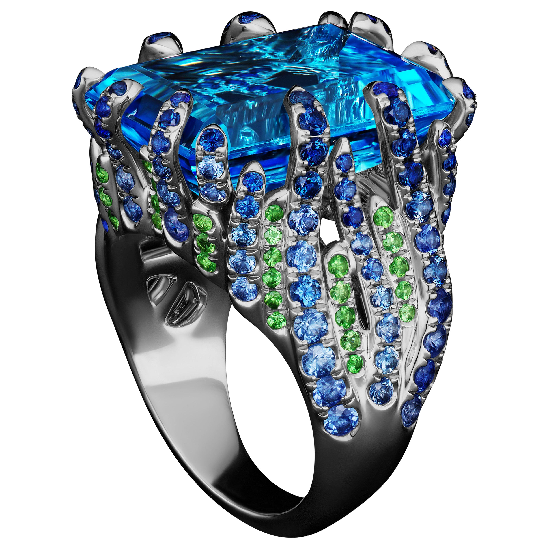 JAG New York Platinum Blue Topaz, Tsavorite and Sapphire Ring