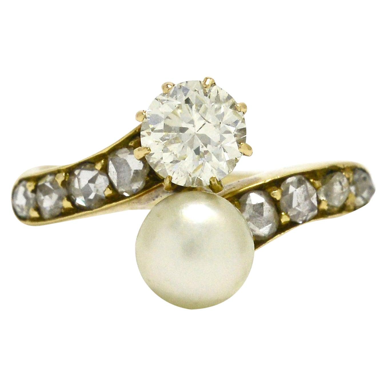 Art Nouveau Pearl and Diamond Engagement Ring 2-Stone Moi et Toi Antique Bridal
