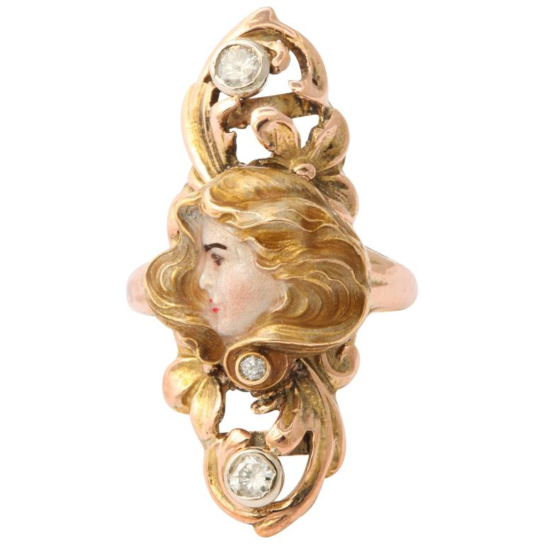 Sun Lit Profile of a Lady Art Nouveau Ring with Diamonds 1