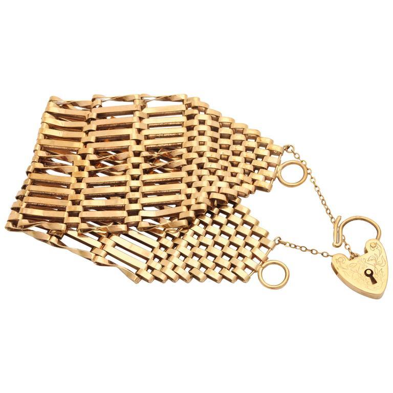 Unusually Wide Edwardian Gate Bracelet with Heart Padlock