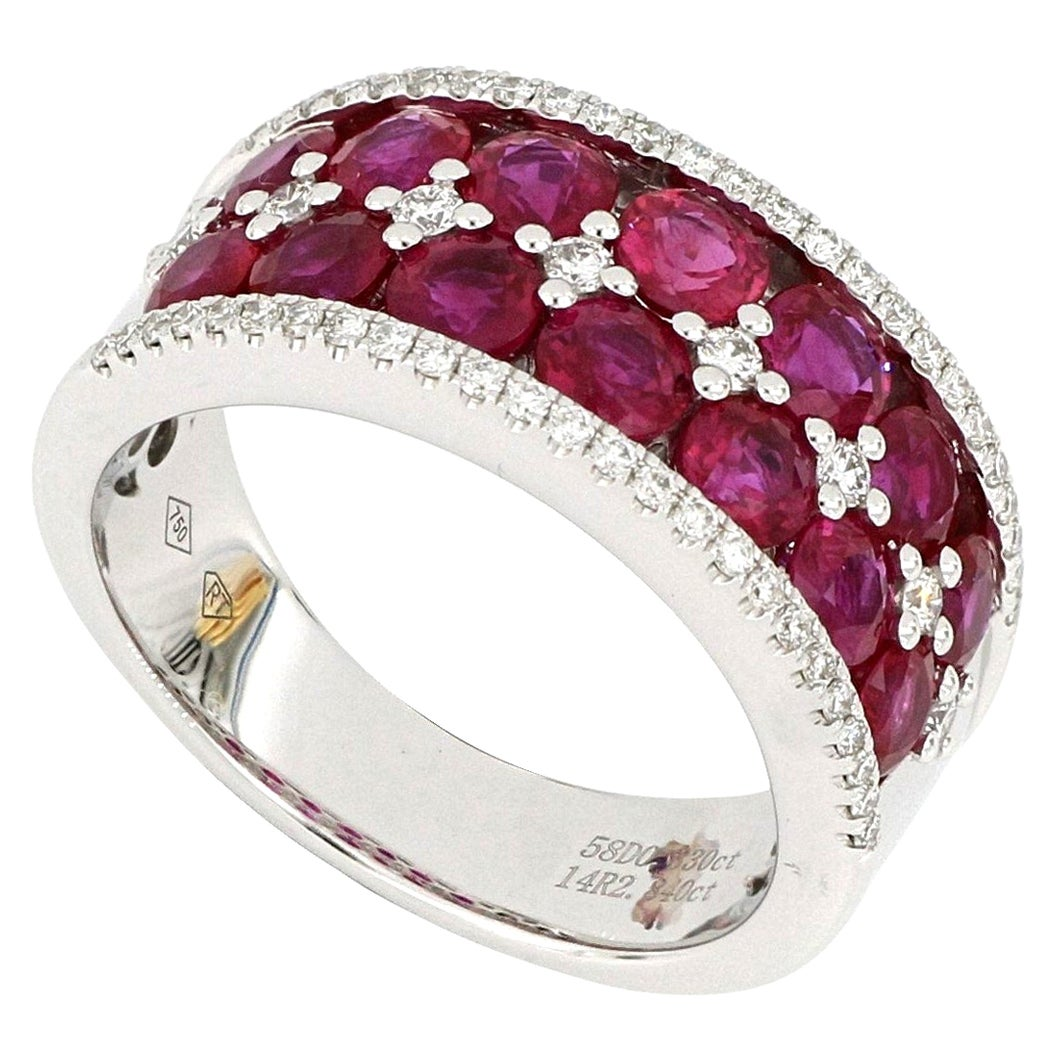 18 Karat White Gold Ruby and Diamond Band Ring