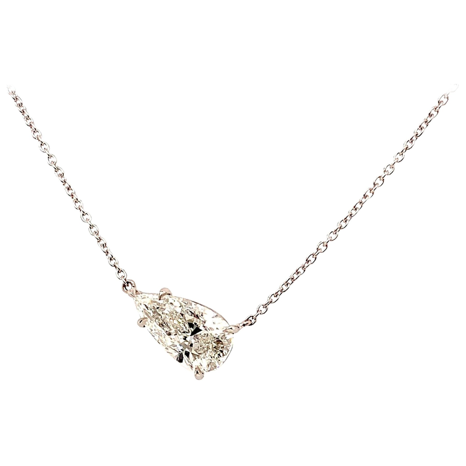 GIA Certified 2.02 Carat Pear Shape Diamond Pendant Necklace
