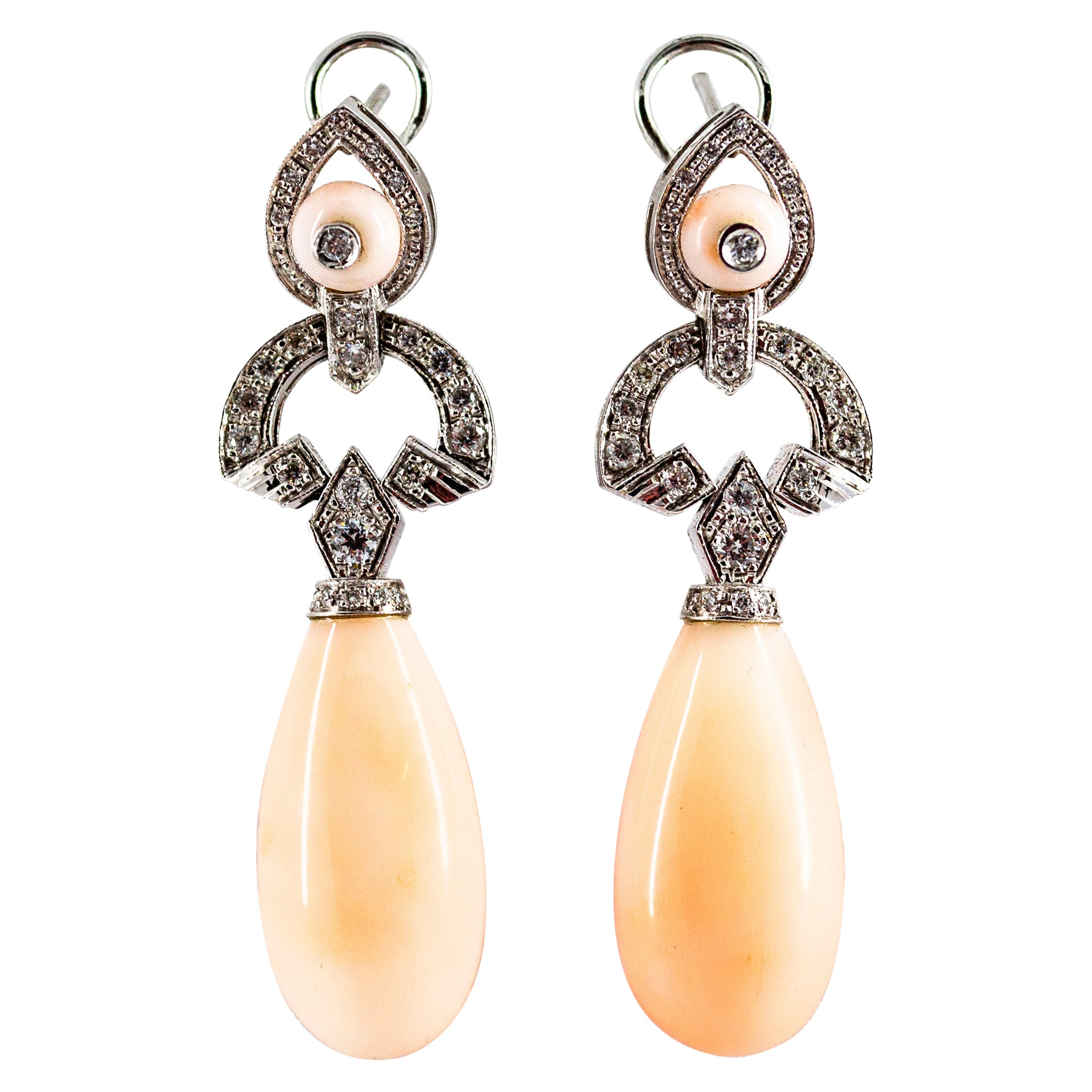 Art Deco Style 0.90 Carat White Diamond Pink Coral White Gold Clip-On Earrings