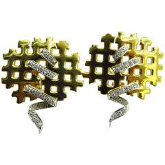 Edgy Diamond Gold Criss Cross Laced Up Diamond Corset Motif Lever Back Earrings
