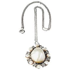 Natural Saltwater Pearl Diamond Platinum  Gold Pendant