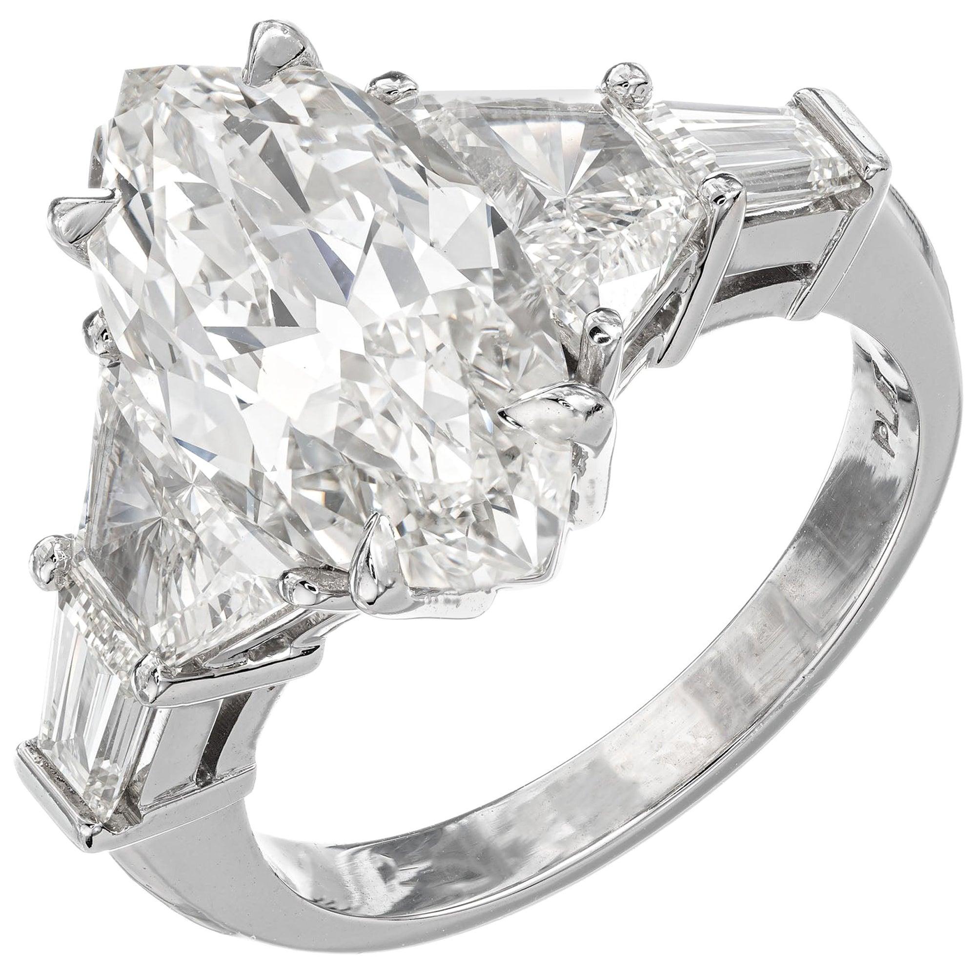 GIA Certified 4.01 Carat Marquise Diamond Three-Stone Platinum Engagement Ring