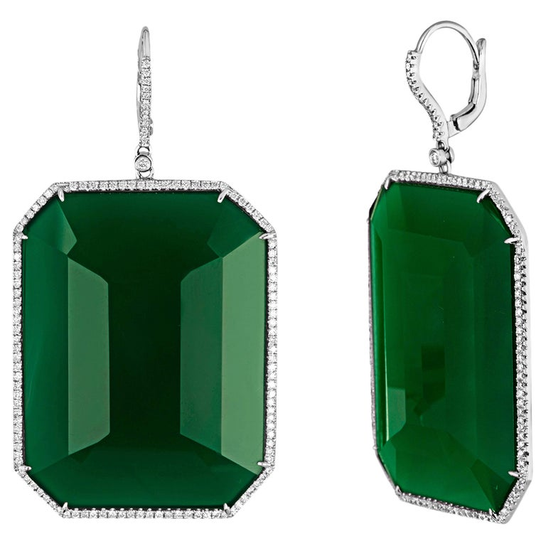 118.15 Carats Green Agate and Diamond Gold Earrings For Sale
