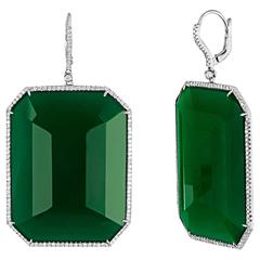 Green Agate and Diamond Gold Earrings