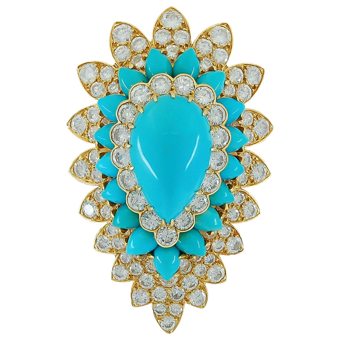 Van Cleef & Arpels Diamond Turquoise Yellow Gold Brooch