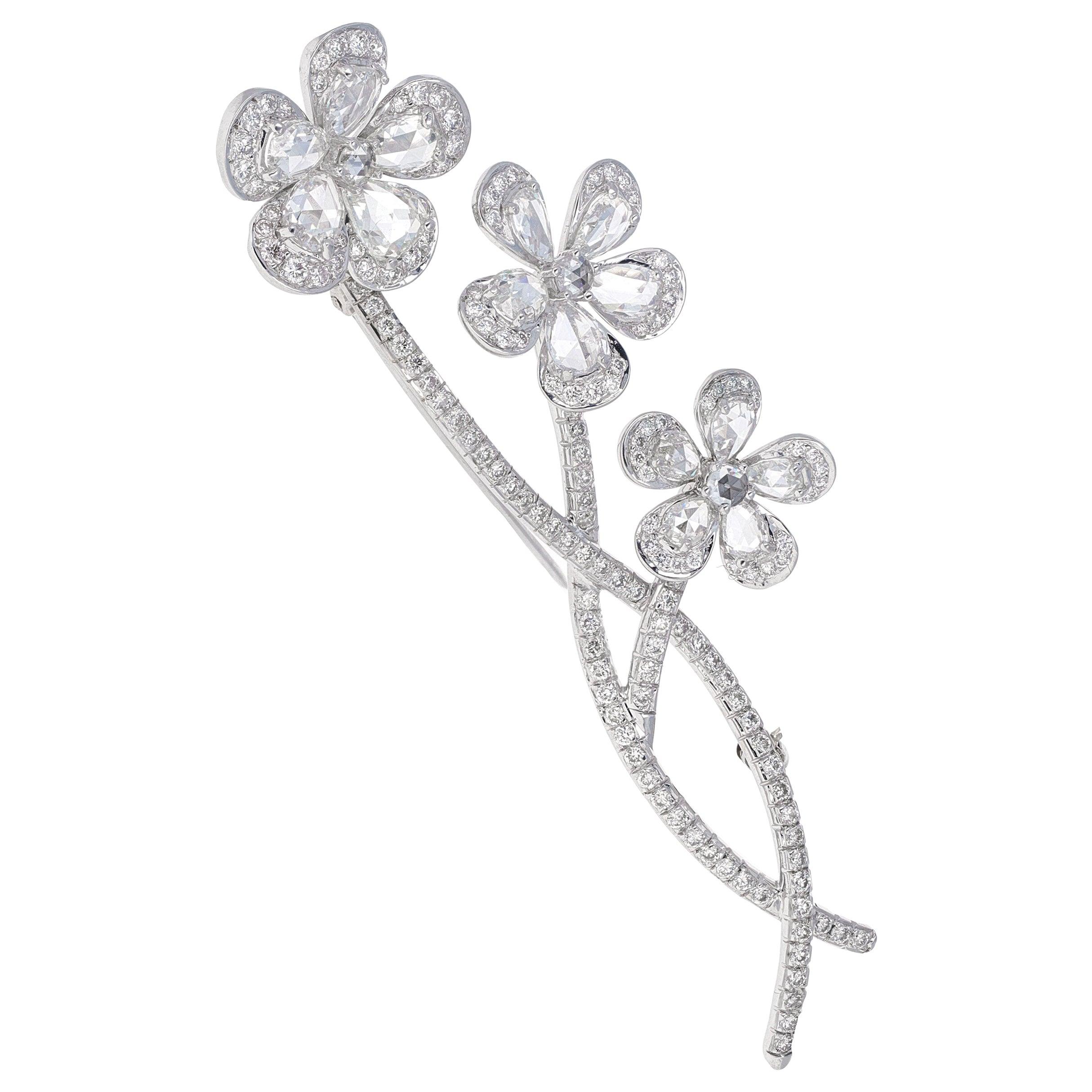Vintage, En tremblant, Rose Cut Diamond Flower Brooch