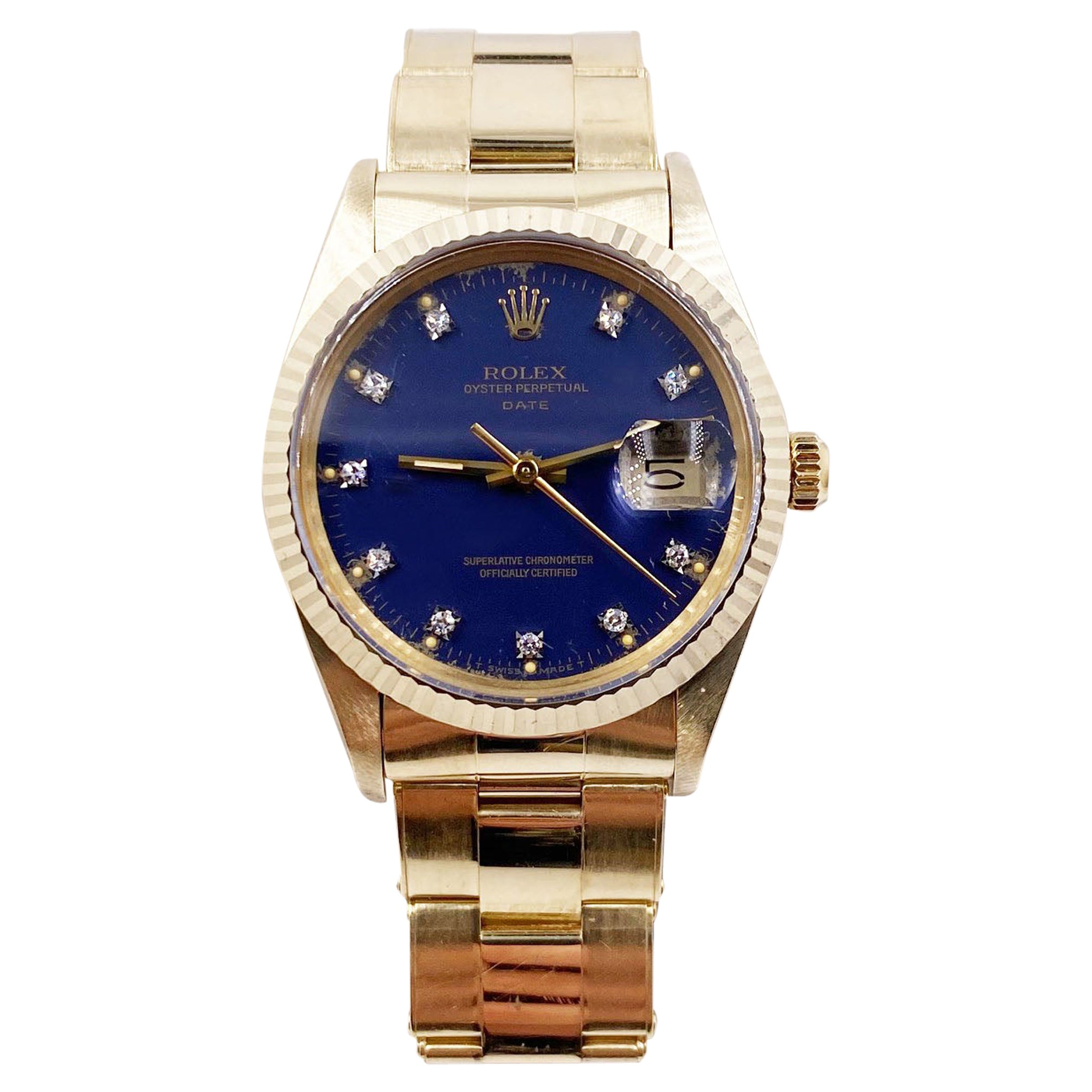 Rolex Date 15037 Blue Diamond Dial 14 Karat Gold Ford Box Papers Collectible