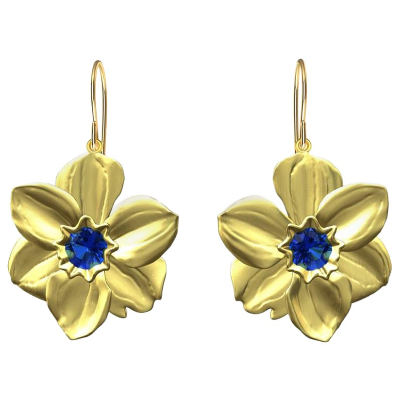 14 Karat Yellow Gold Daffodil Earrings with Blue Sapphires