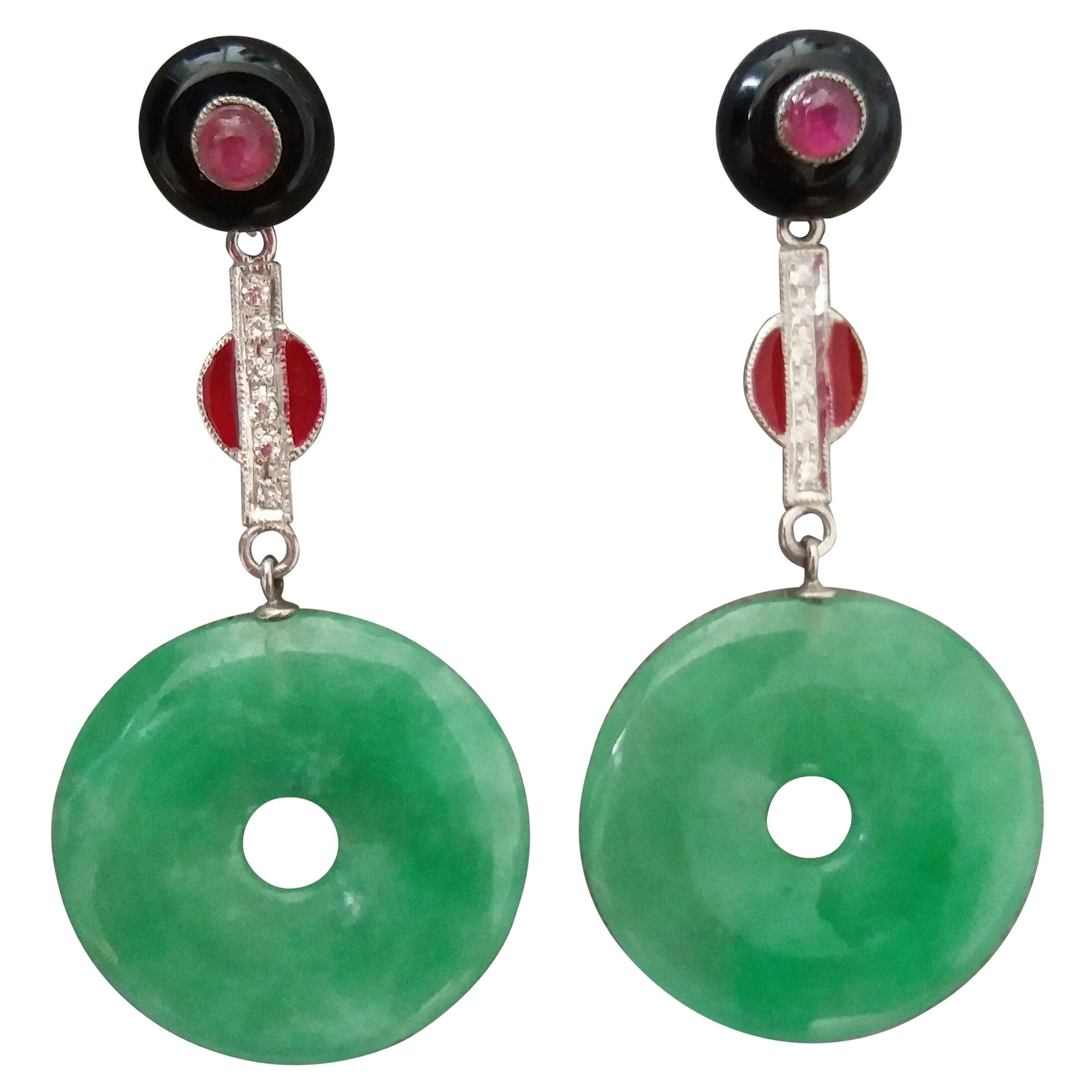 Art Deco Style Burma Jade Rubies Gold Diamonds Red Enamel Black Onix Earrings