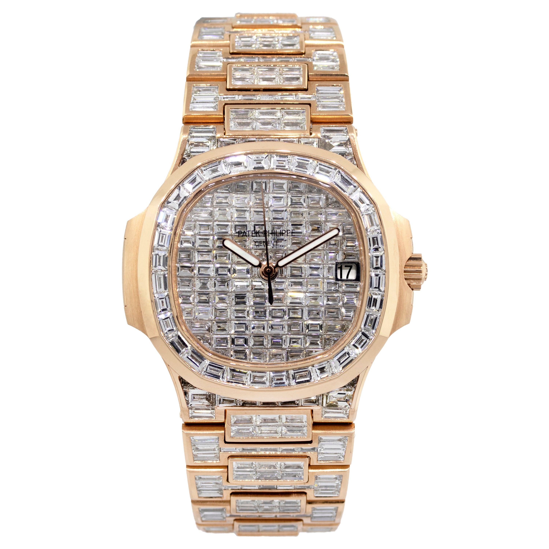 Patek Philippe Nautilus 18 Karat Rose Gold 70 Carat Baguette Diamond Wristwatch