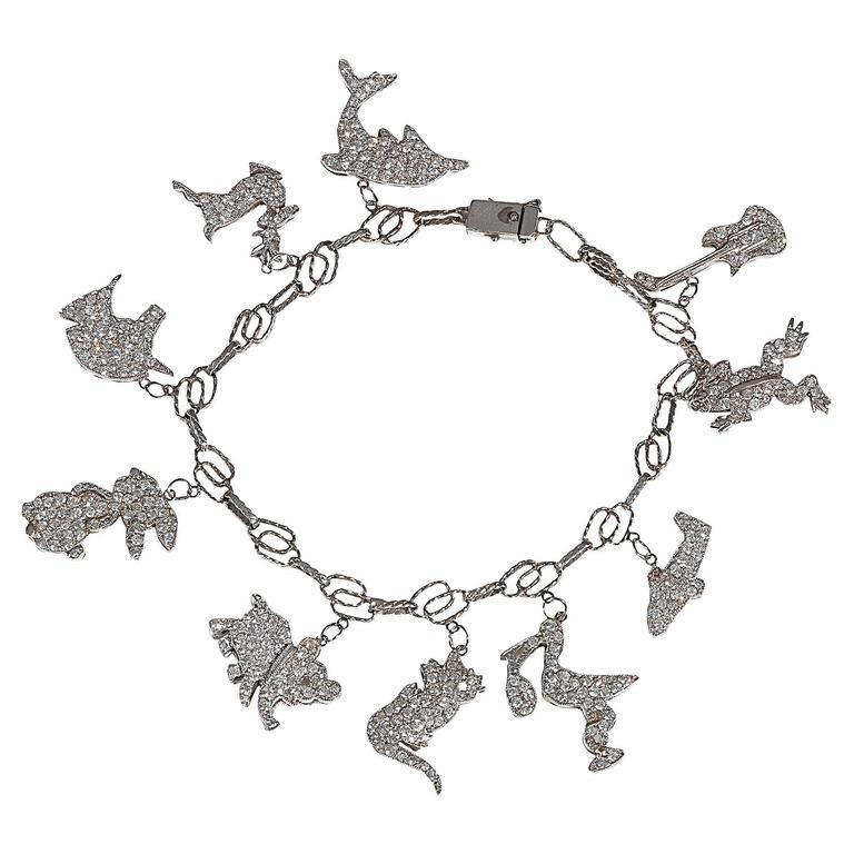 Diamond Platinum Charm Novelty Bracelet