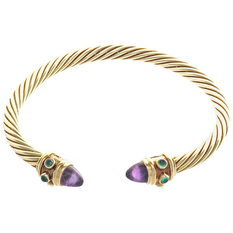 David yurman amethyst emerald gold bracelet at 1stdibs for David yurman like bracelets