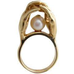 Pearl Gold Surrealist Hands Love Cocktail Engagement Ring