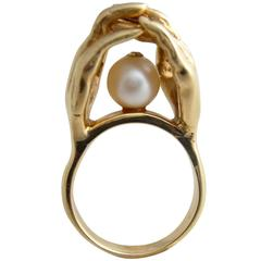 Pearl Gold Surrealist Hands Love Cocktail Ring