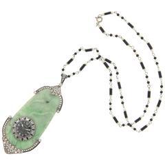 Ghiso Art Deco Jade Diamond Pendant Jaeger LeCoultre  Watch