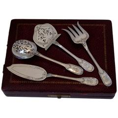 Christofle Rare French All Sterling Silver Dessert Hors D'oeuvre Set 4 pc box