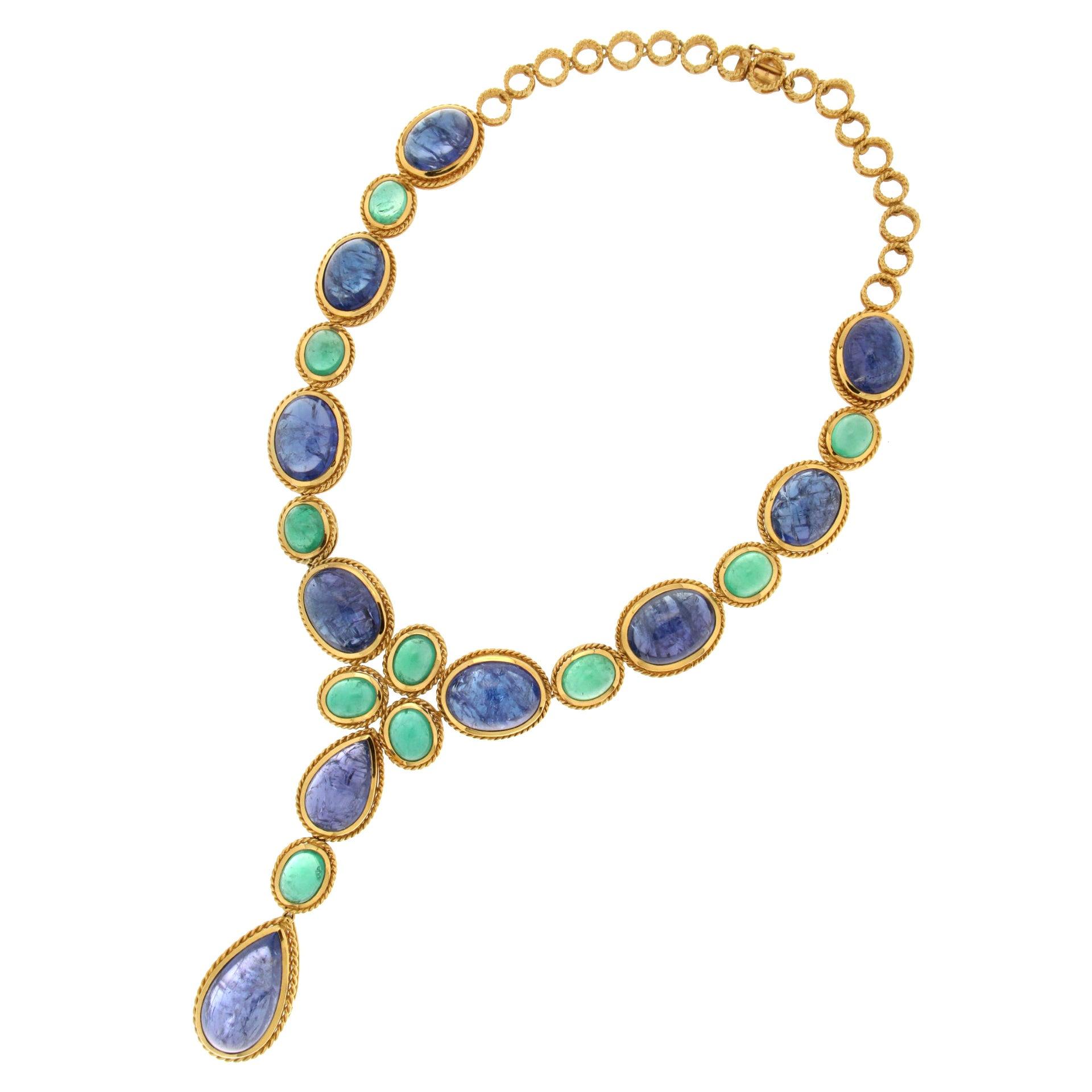 Handcraft Colombian Emeralds 18 Karat Yellow Gold Tanzanite Choker Necklace