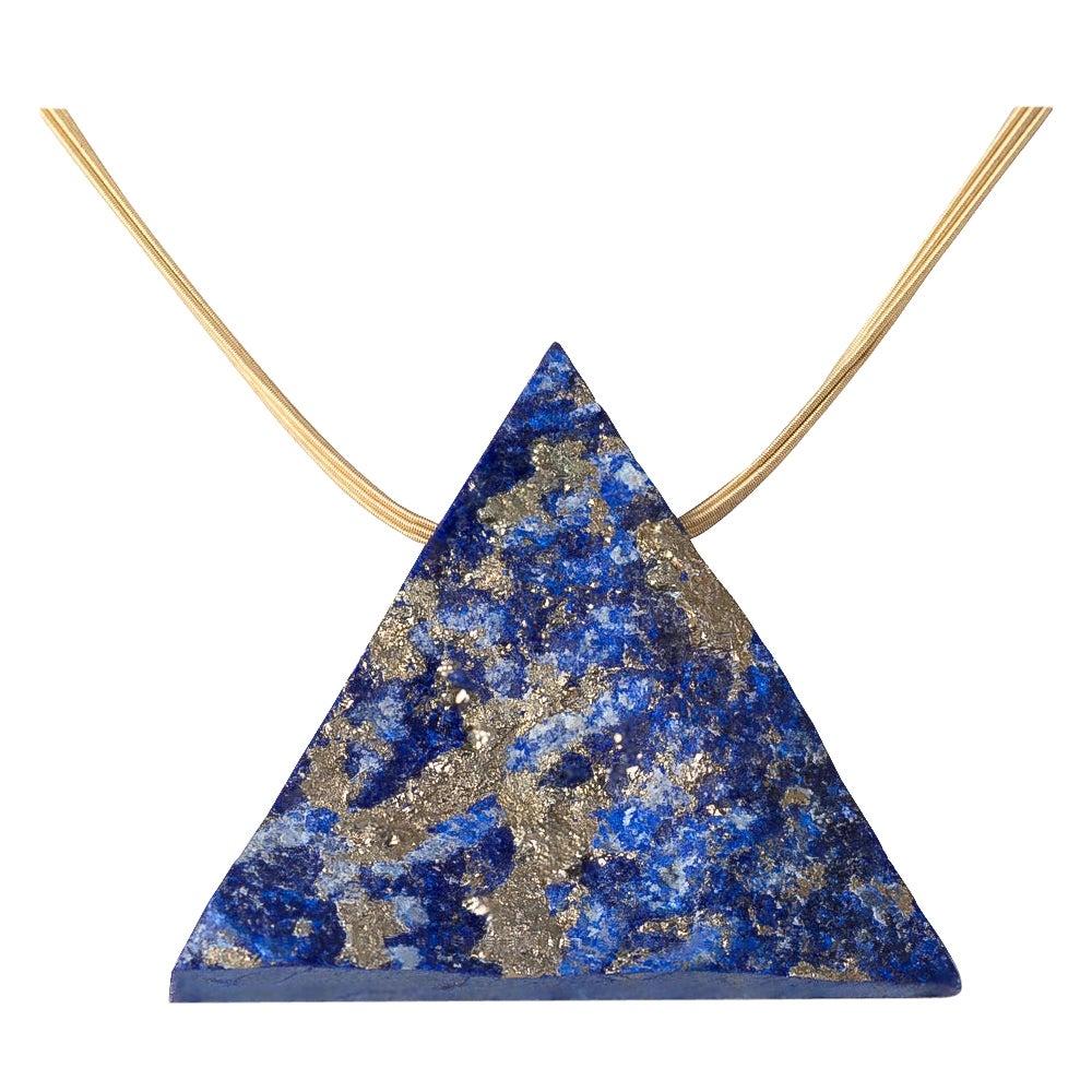 LAPIS LAZULI PENDANT Triangle on 18 Karat Yellow Gold Necklace