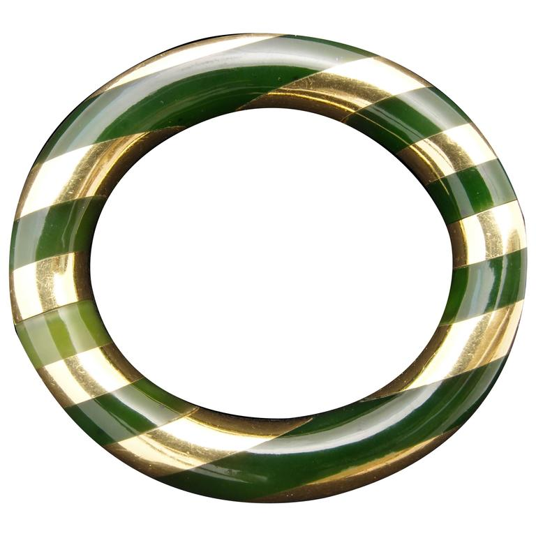 Tiffany & Co. Angela Cummings Green Jade and Gold Bangle