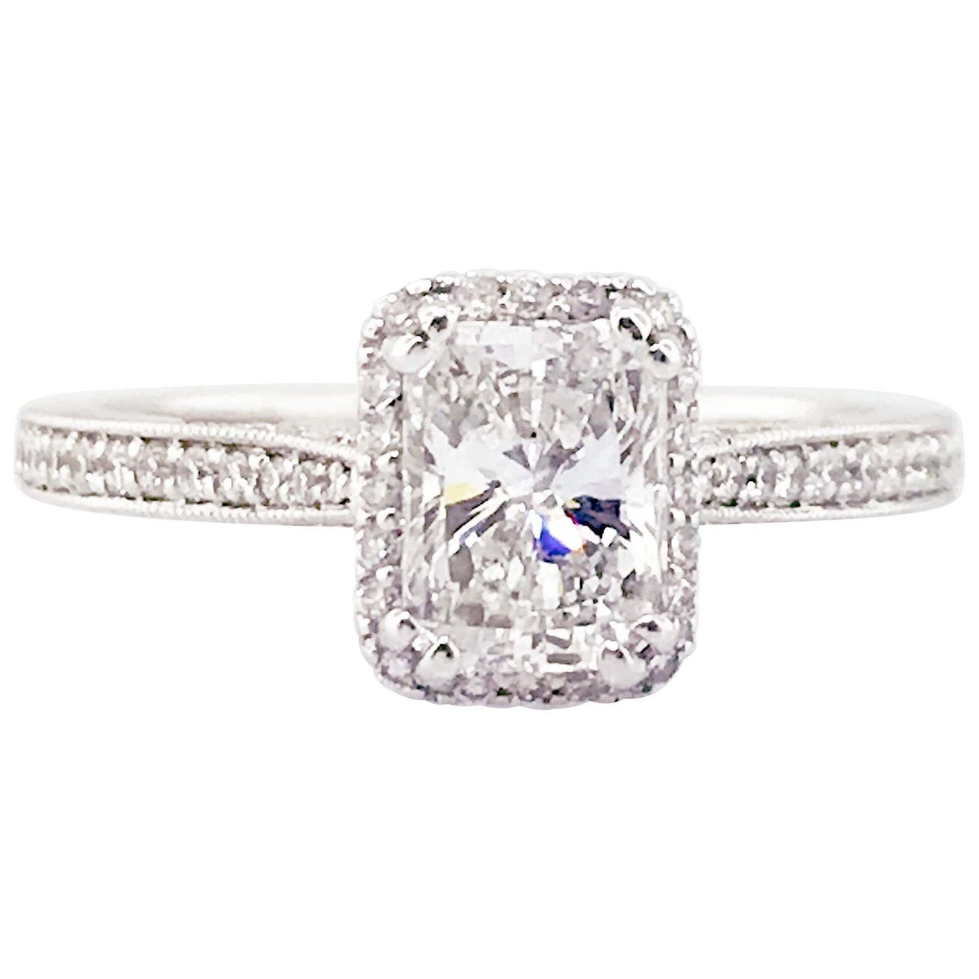 1.00 Carat VVS1 G Diamond Halo Ring 19 Karat White Gold Crescent Engagement Ring