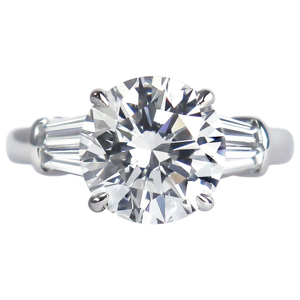 J. Birnbach GIA Certified 3.25 Carat F VVS2 Brilliant Round Diamond Ring