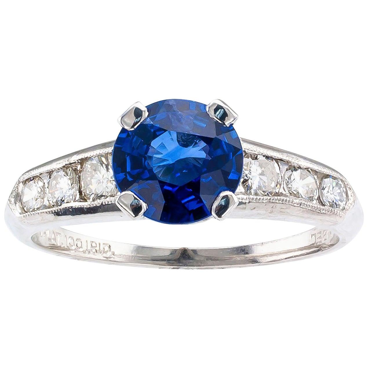 1950s Sapphire Diamond Platinum Engagement Ring