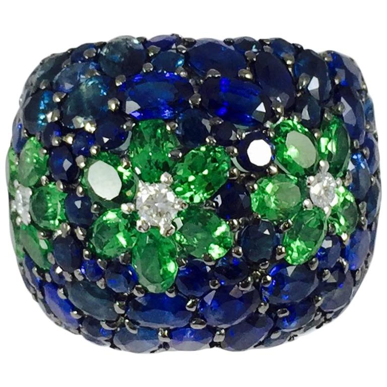 Sapphire Tsavorite Diamond Band Ring For Sale