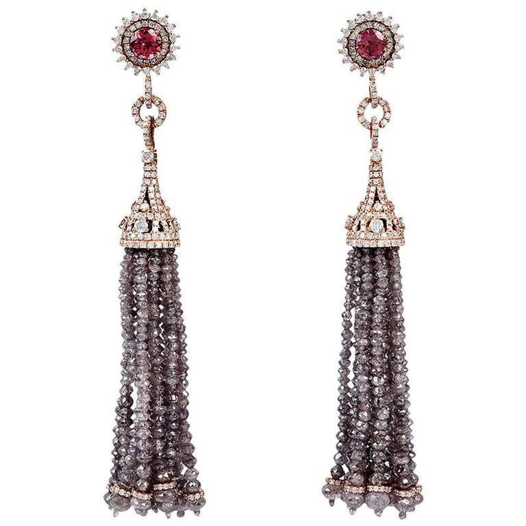 Alluring Pink Tourmaline Ice Diamond Gold Tassel Earring