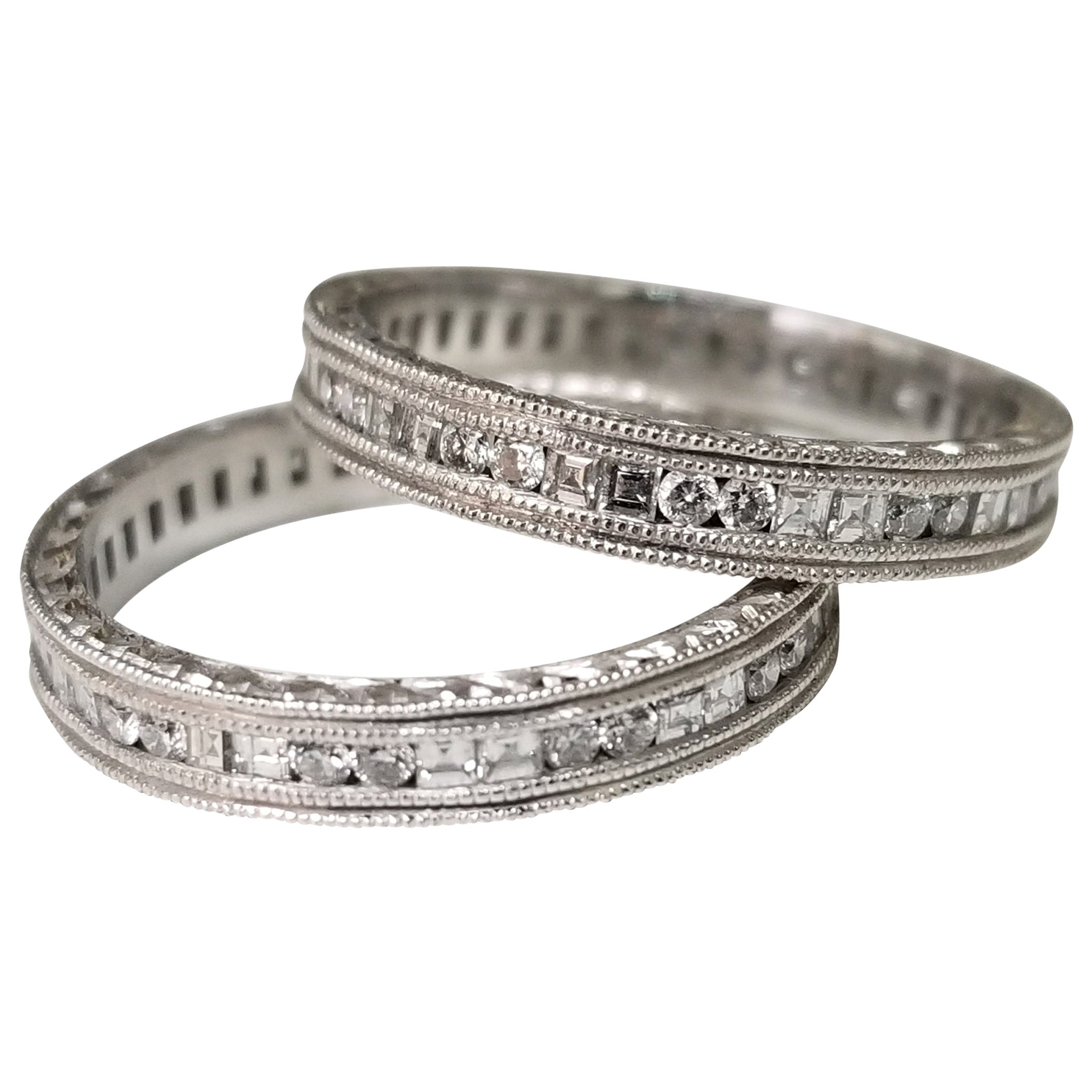 14 Karat White Gold Hand Engraved Diamond Square and Round Eternity Ring