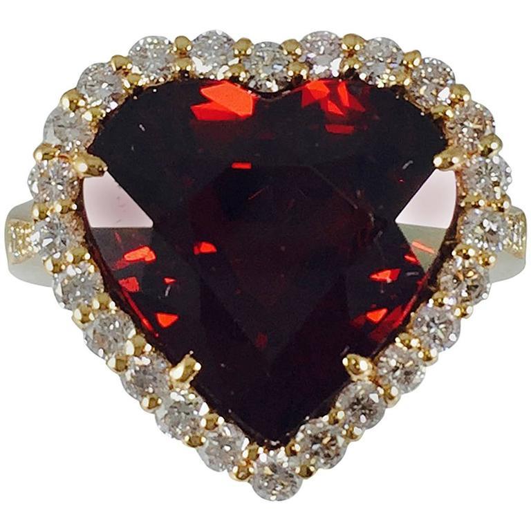 Rare Spessartite Garnet Diamond Gold Ring 1