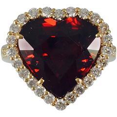 Rare Spessartite Garnet Diamond Gold Ring