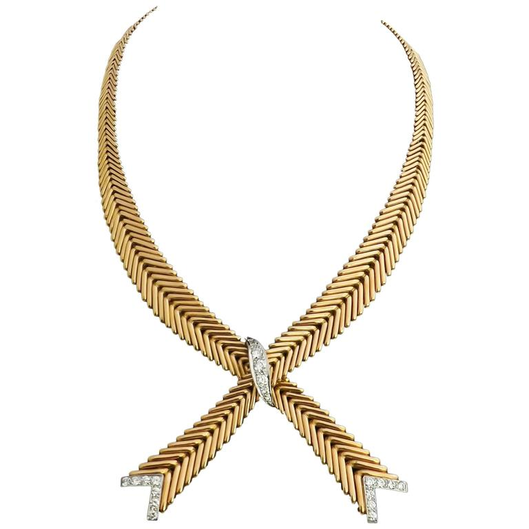 1950s French Diamond Gold Crossover Flexible Necklace