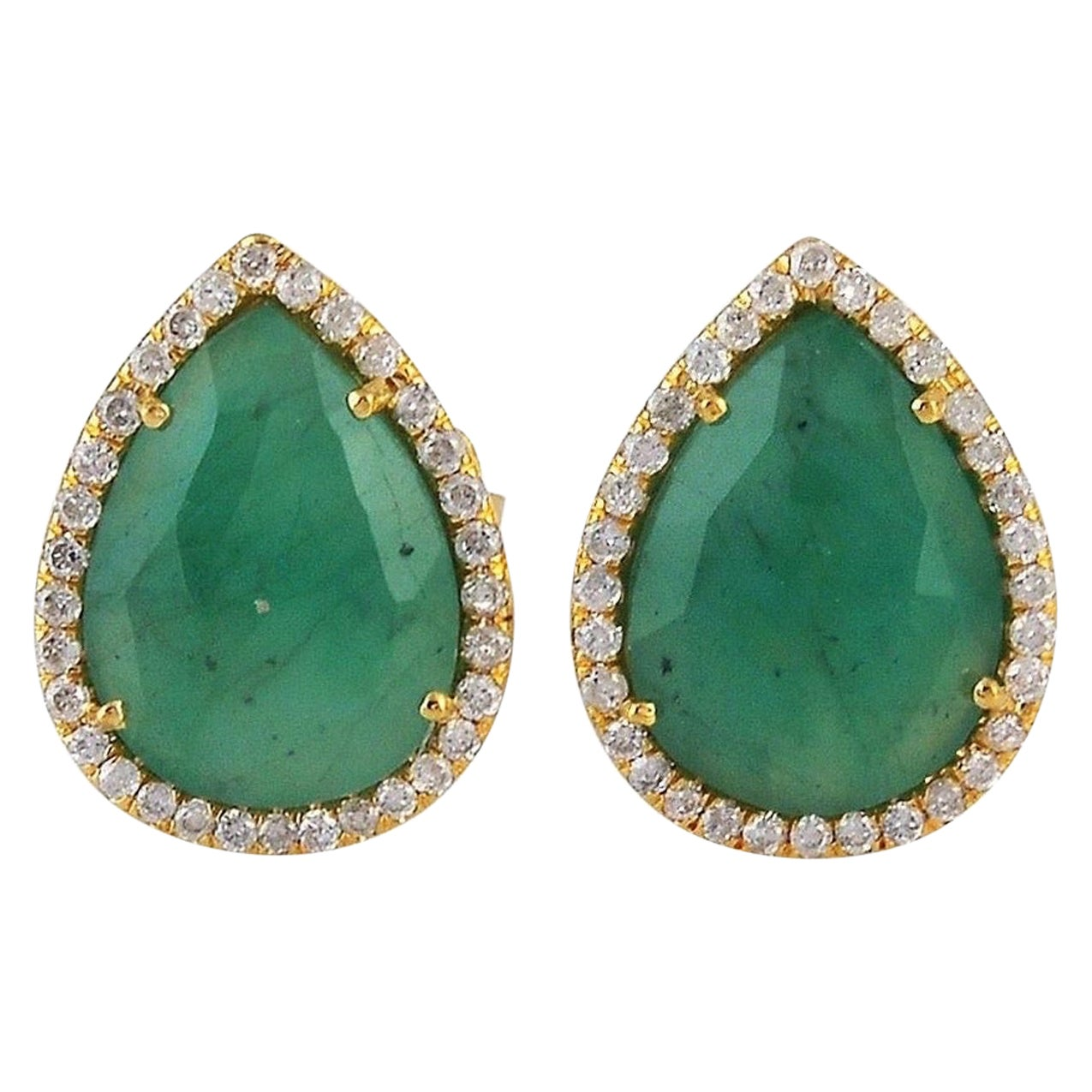 4.41 Carat Emerald Diamond 18 Karat Gold Stud Earrings